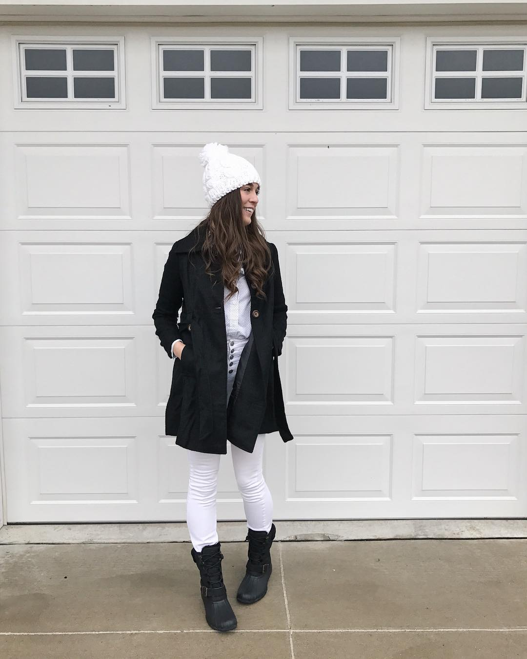 Classic White High Waist Jeans, White Shirt With Black Coat And Woollen Coat