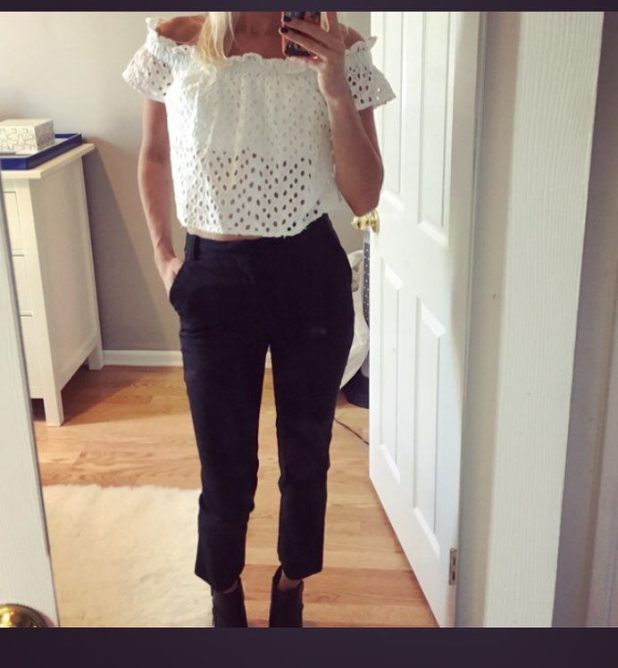 Classic White Off The Shoulder Crop Top With Denim Cropped Pant And Ankle Shoes