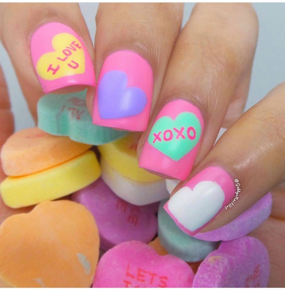Colorful Romantic Day Nail Art