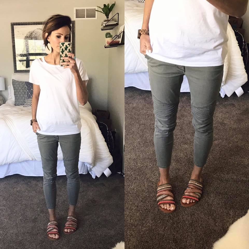 Comfy Leather Pant With Simple White Top