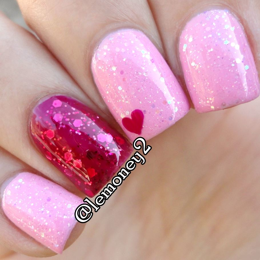 Cool Pink Heart Nail Art