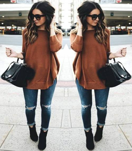 Cool Rust Sweater With Jeans, Booties And Handbag