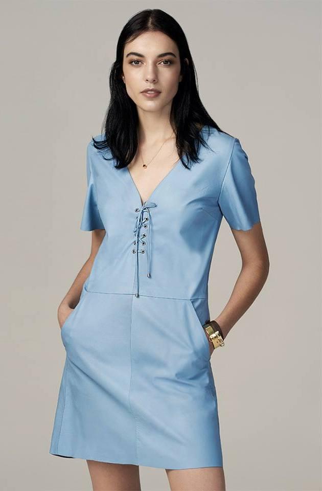 Cool Sky Blue V-Neck Short Leather Dress