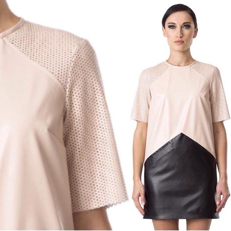 Cream & Black Leather Dress