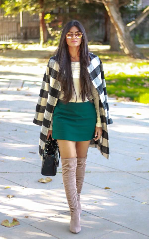 Cream Top, Teal Skirt With Check Coat And Suede Knee Shoes