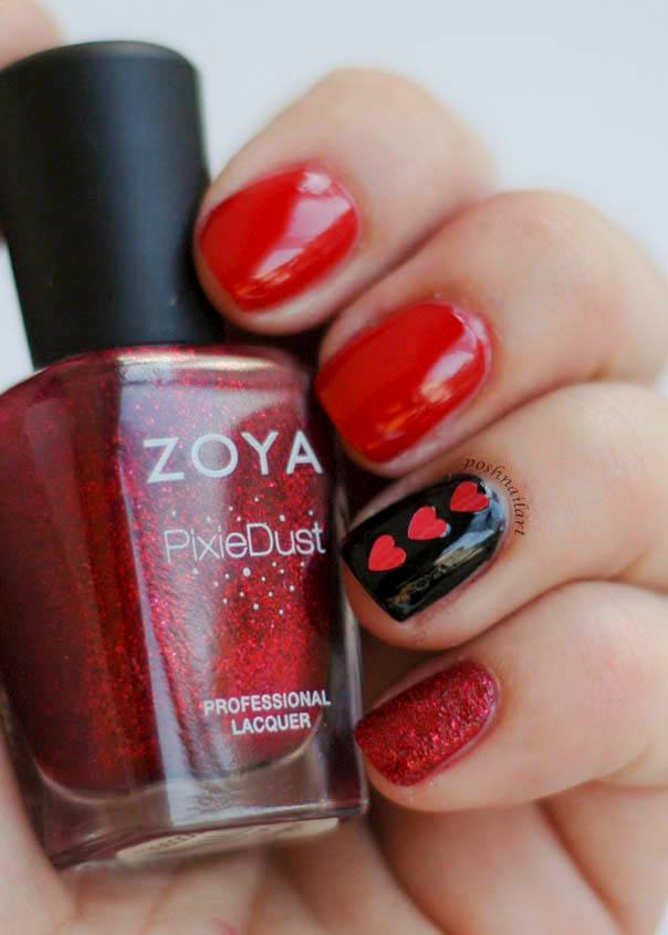 Cute Black & Red Nails With Little Hearts