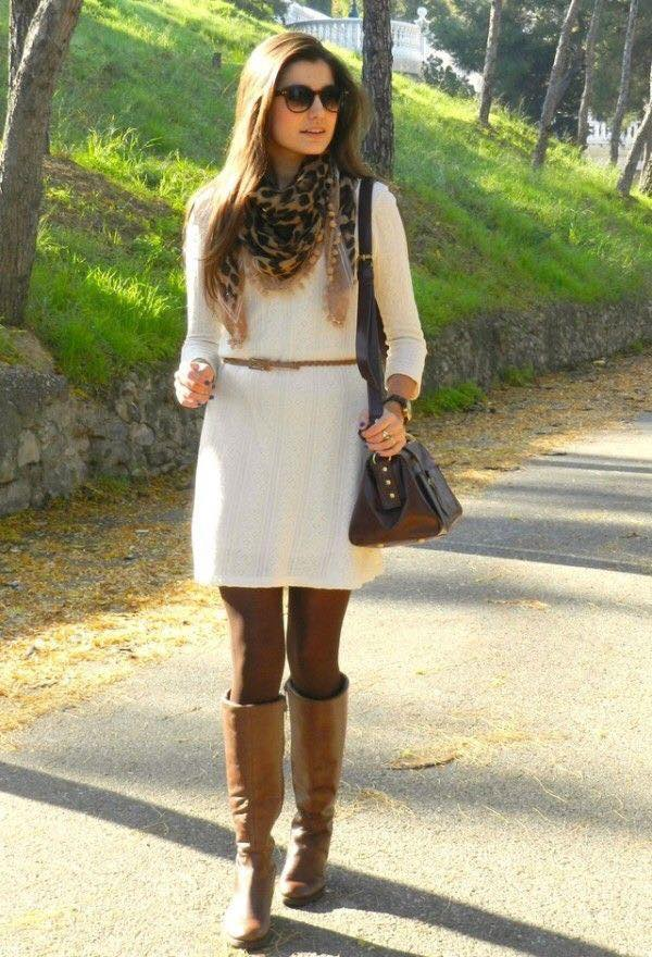 Cute Cream Sweater Dress With Knee Shoes, Leopard Scarf And Crossbody Bag