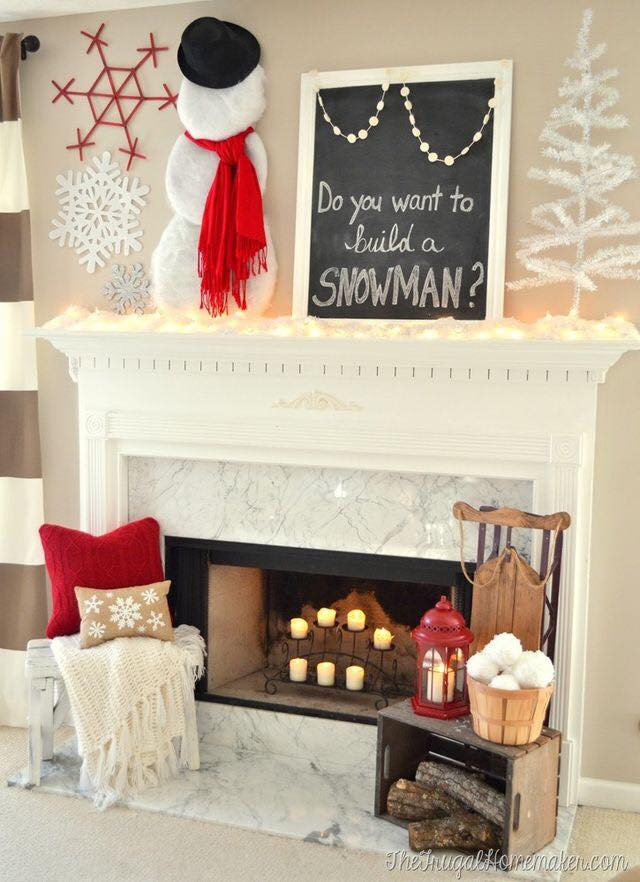 Cutest Mantel Decoration With Snowman And Snowflakes