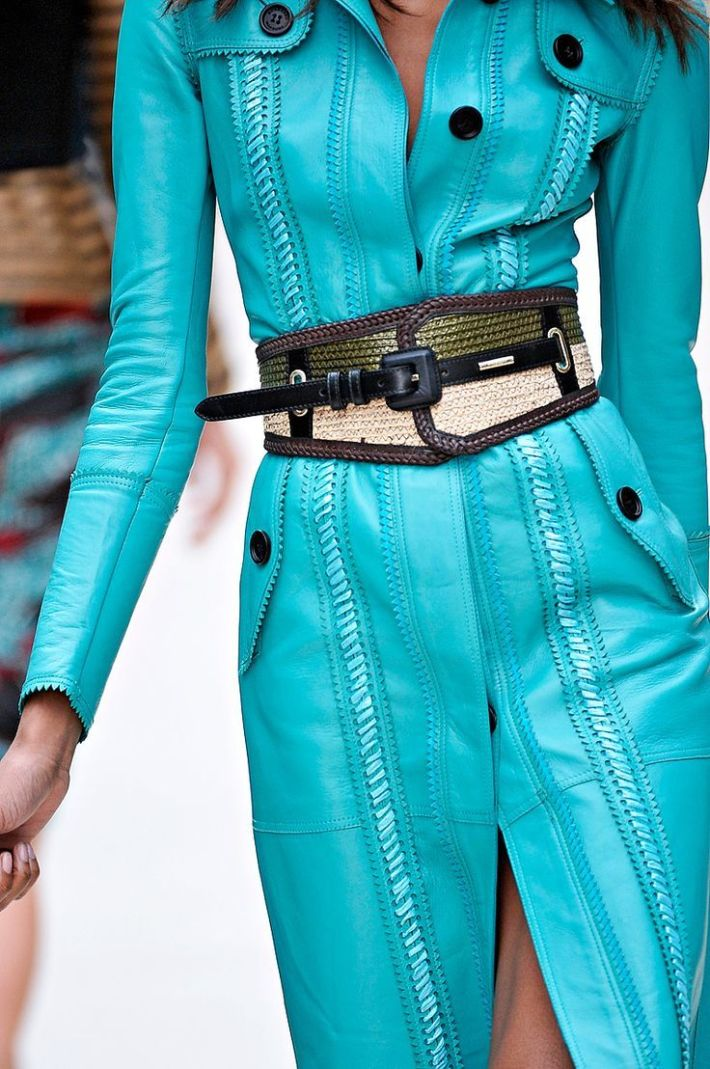 Cyan Blue Full Sleeves Leather Dress With Front Open And Black Waist Belt