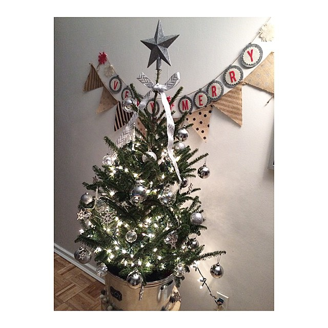DIY Christmas Tree Decor Idea With Beautiful Banner On Background