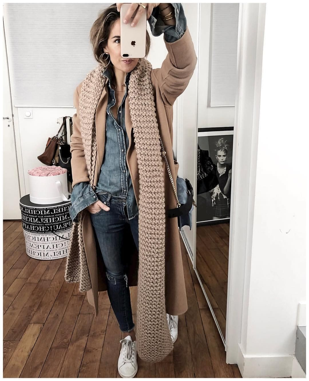 Dashing Denim Button Shirt And Jeans With Caramel Warm Coat And Knit Scarf