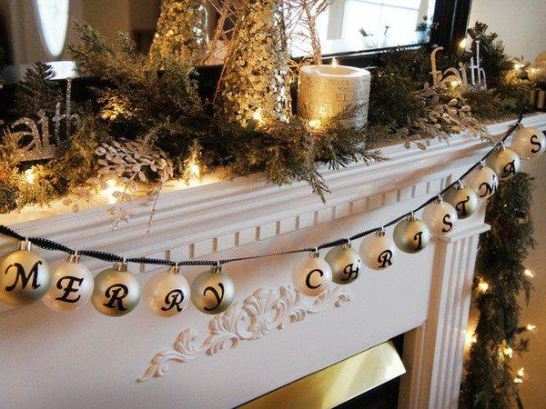 Dashing Ornament Wreath At Mantel