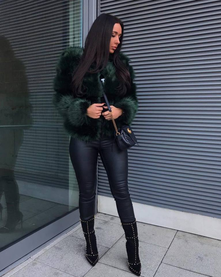 Deep Green Faux Fur Jacket Paired With Leather Pant, Crossbody Bag And Suede High Ankle Shoes