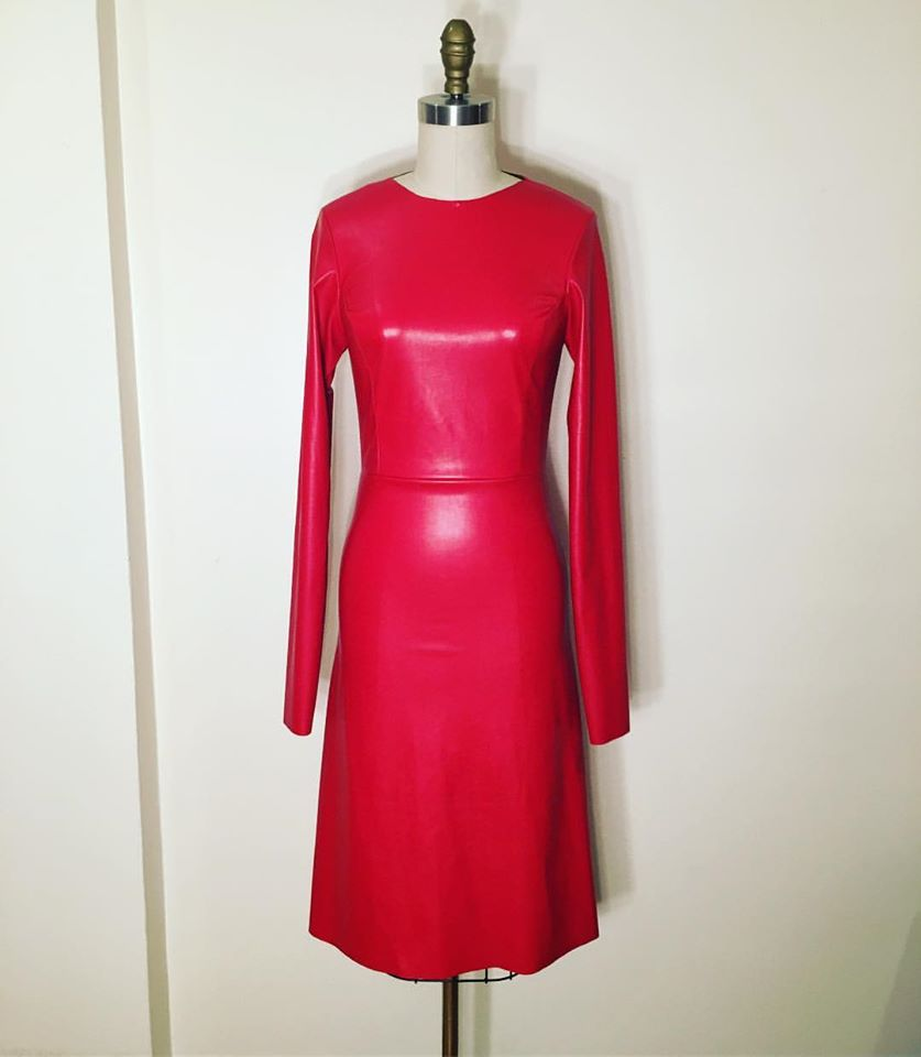 Deep Pink Full Sleeves Leather Dress