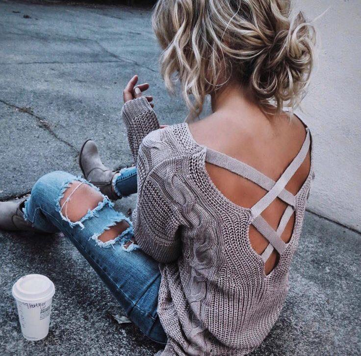 Designer Back Sweater With Ripped Jeans