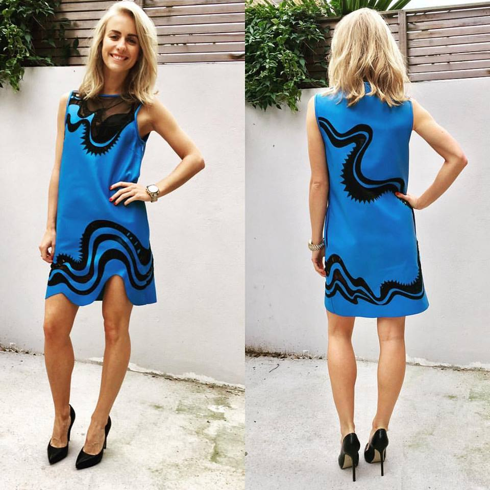 Designer Blue Leather Dress With High Heels
