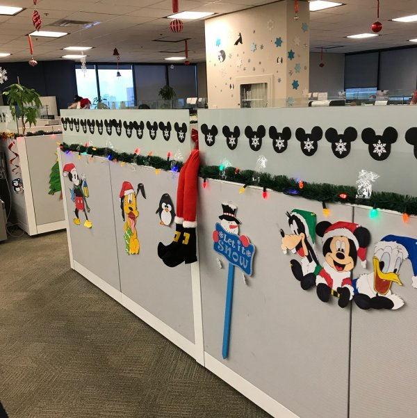 Disney theme office decor for Christmas. Pic by priestessstefy
