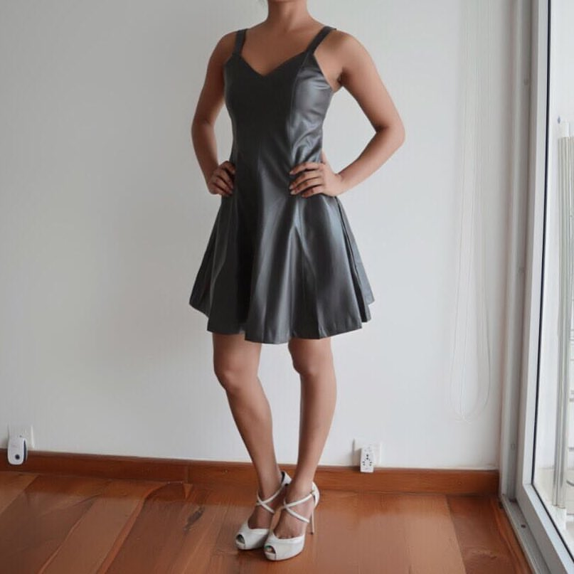 Droolworthy Dark Grey Sleeveless Leather Dress With White Pumps