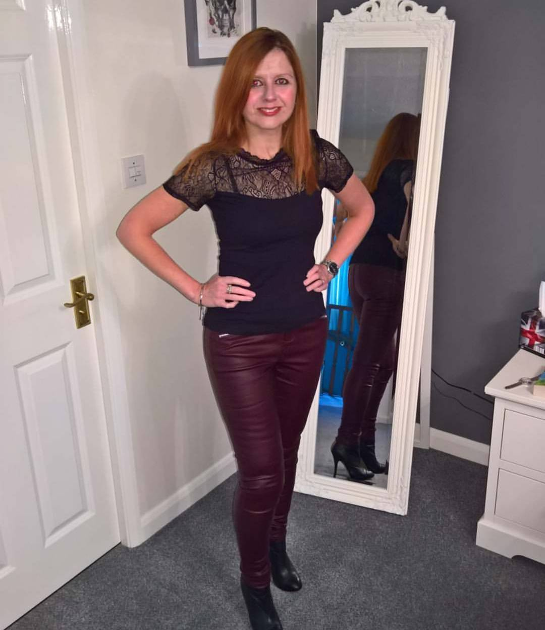 Elegant Burgundy Leather Pant With Black Shear Lace Top