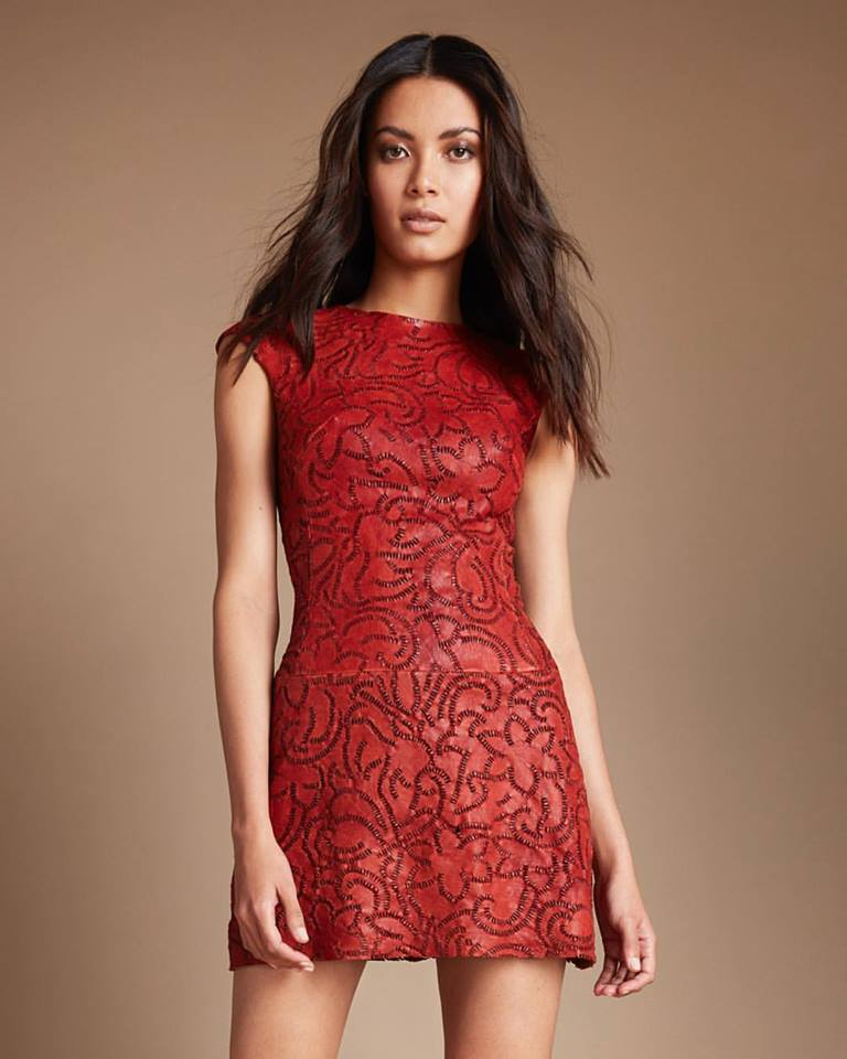 Embroidered Red Short Leather Dress