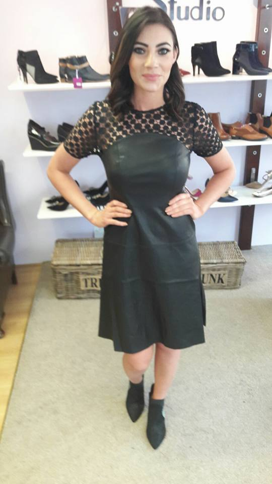 Excellent Deep Green Leather Dress With Net