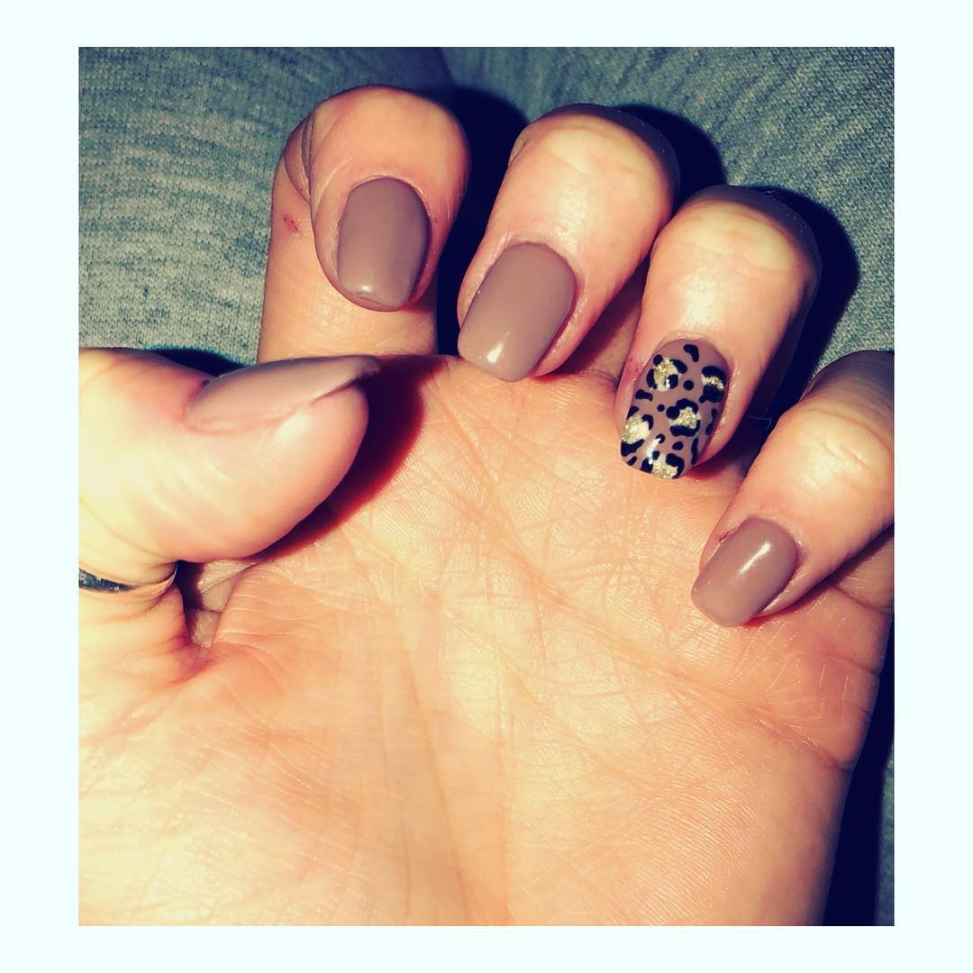 Exclusive Nude Nails With Leopard Design