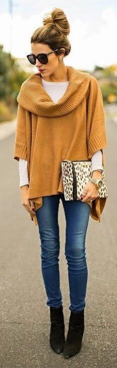 Exiqusite Half sleeves Sweater With White Top, Jeans, Ankle Shoes And Leopard Purse