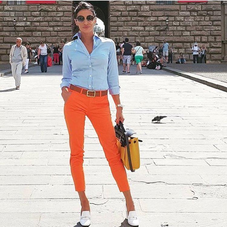 Eye-Catching High Waist Orange Crop Pant With Blue Button Down Full Sleeve Shirt