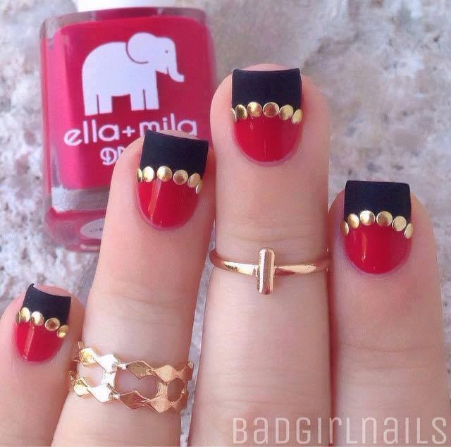 Fabulous Black & Red Nails