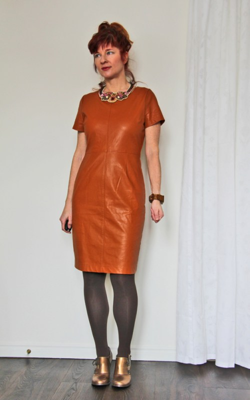 Fabulous Cinnamon Leather Sheath Dress With Stocking And Copper Pumps