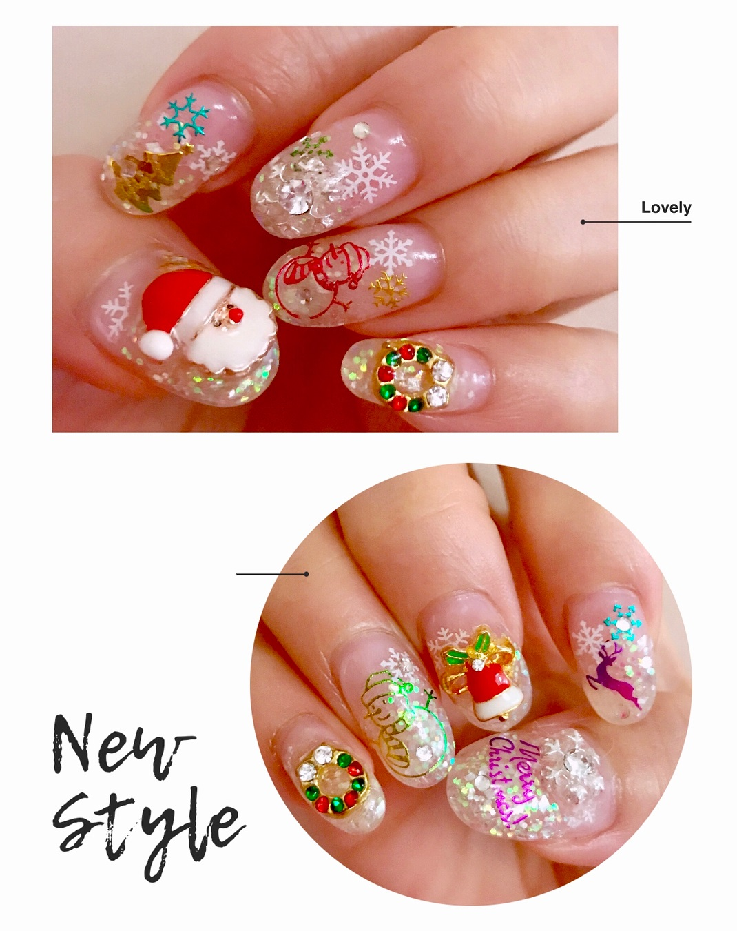 Fabulous Festive Nails With Santa, Reindeer And Snowman