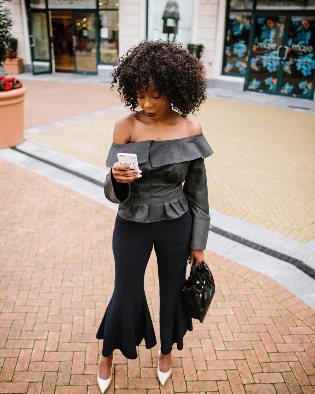 Fabulous Off The Shoulder Full Sleeve Top With Cropped Bell Bottom
