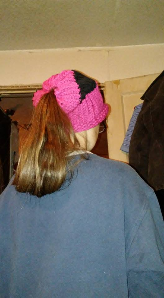 Fabulous Pink & Black Messy Bun Cap