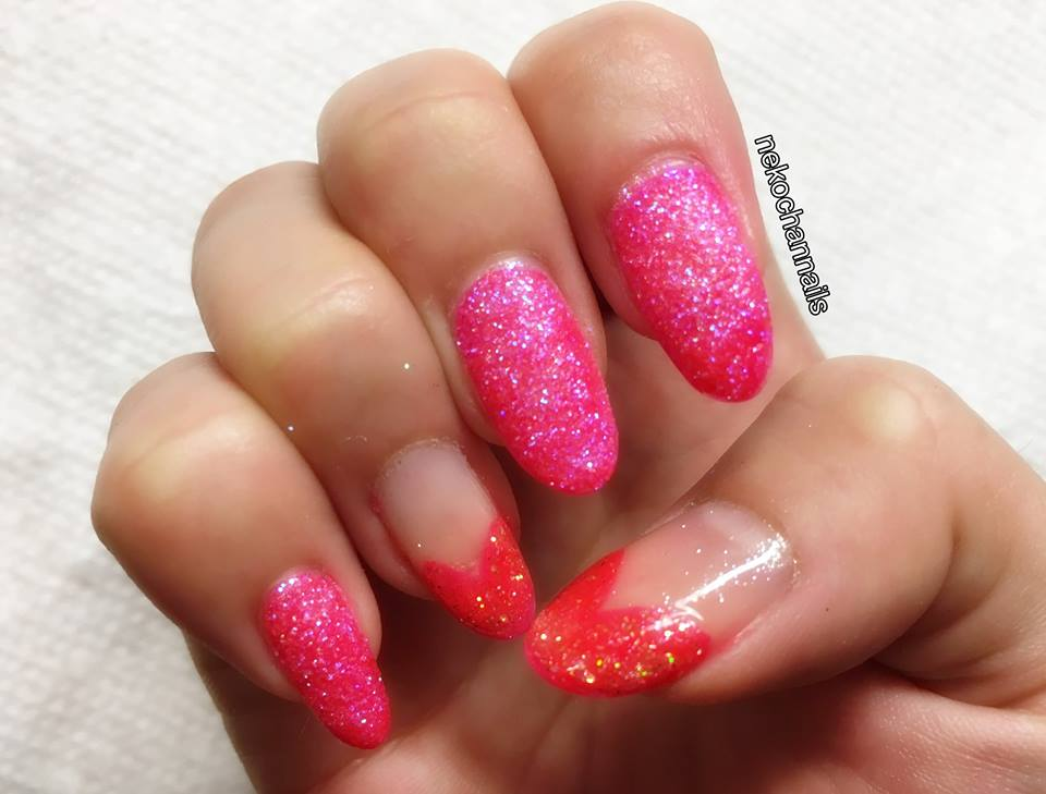 Fabulous Pink Glittery Nails With Hearts