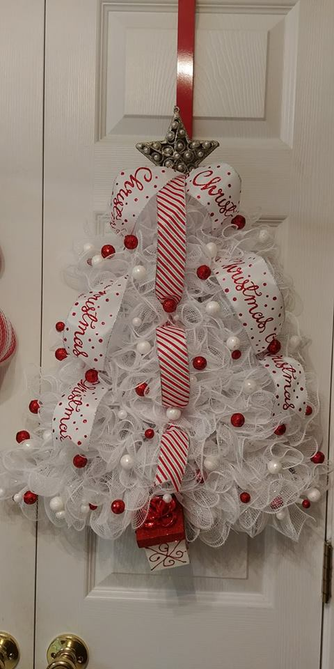 Fantastic Small White Lace Tree Decorated With Ribbon And Small Balls