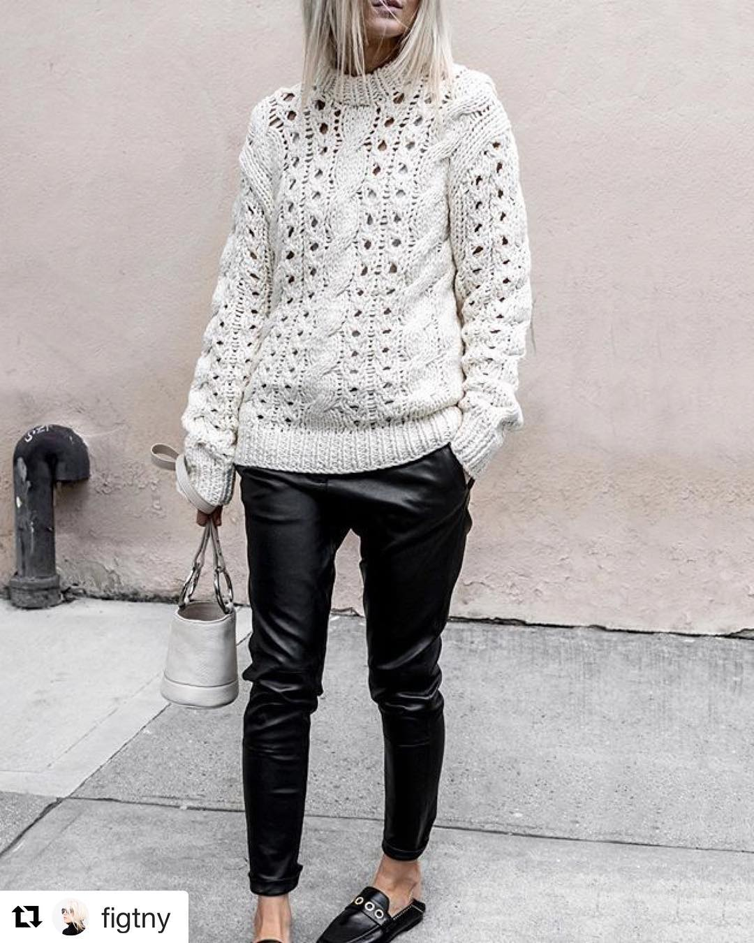 Fantastic Sweater With Leather Pant