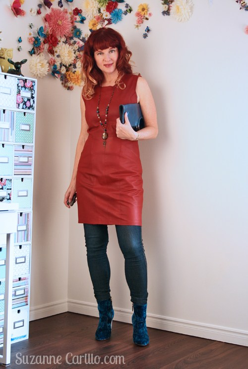 Fascinating Leather Dress With Jeans And Velvet Shoes