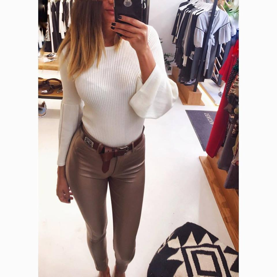Faux Leather High Waist Pant With White Full Sleeve Top