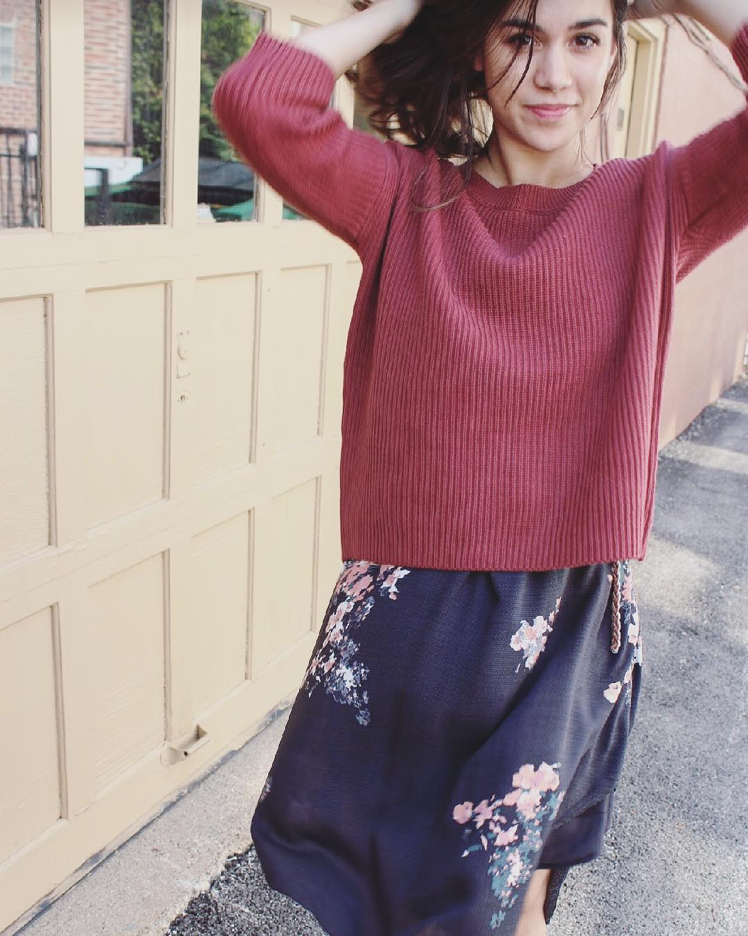 Floral Dress With Simple Maroon Short Sweater