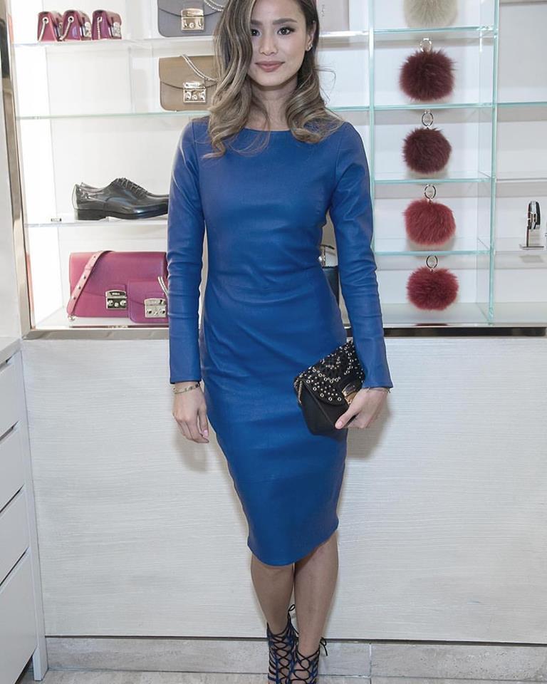 Full Sleeves Blue Leather Dress