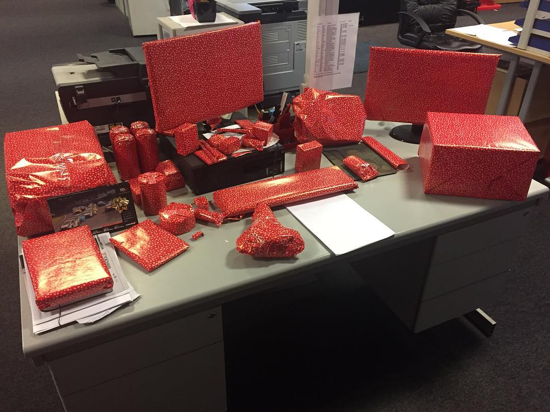 Funny Gift Decor Idea By Wrapping Everything On Desk