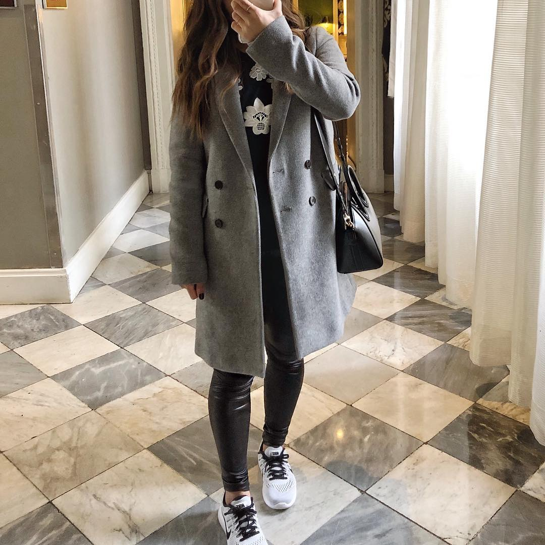 Glamorous Comfy And Warm Grey Coat Paired With Leather Legging And Black Top