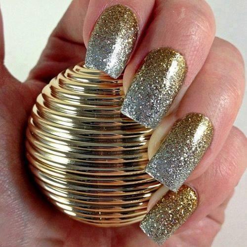 Glamorous Golden & Silver Double Tone Nail Art
