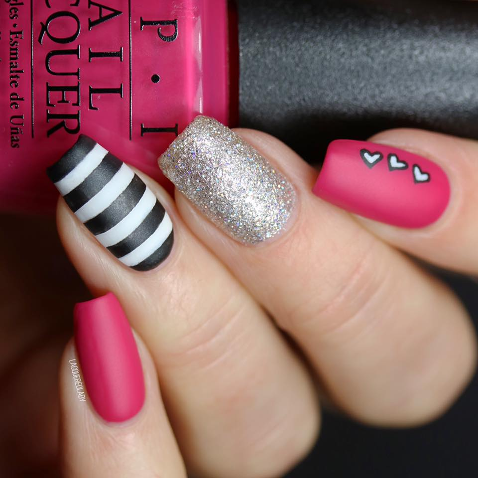 Glamorous Pink, Black And Silver Nails With Little Hearts