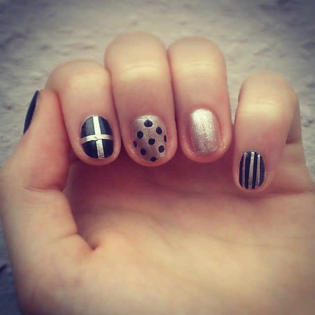 Golden Nails With Black