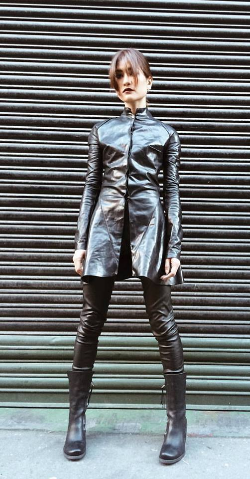Gorgeous Black Leather Dress With Black Leather Jeans & Knee Shoes