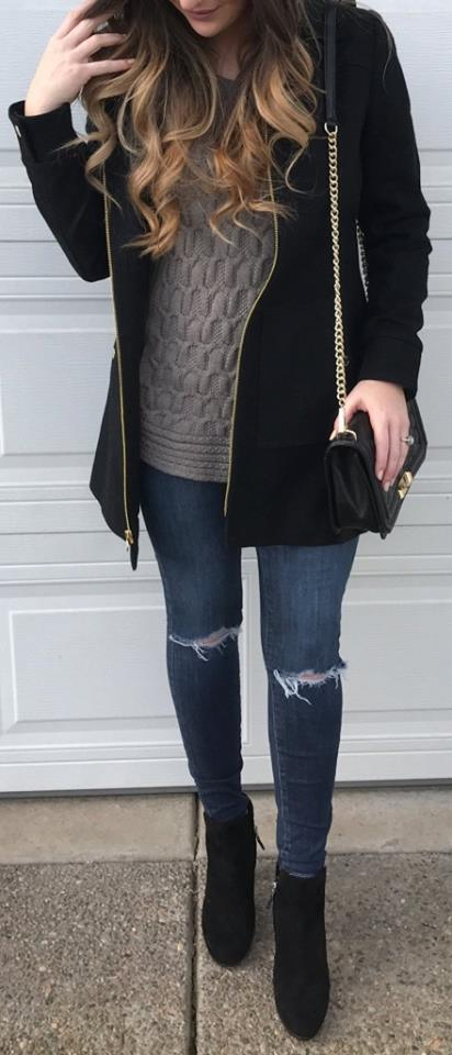 Gorgeous Grey Sweater With Ripped Jeans, Jacket, Ankle Shoes And Crossbody Bag