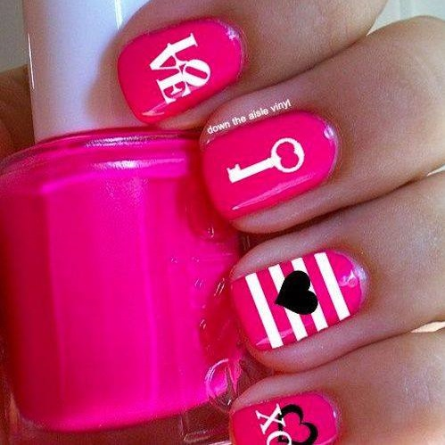 Graceful Bright Pink XoXo Nails With Key And Heart