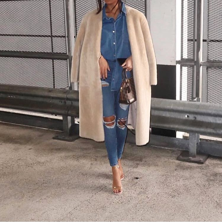Graceful Denim Button Down Shirt, Ripped Jeans And Faux Fur Coat