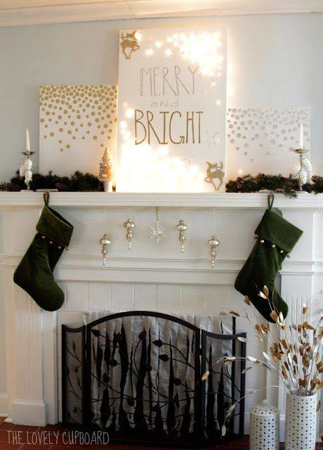 Great Black And Golden Christmas Mantel Decoration